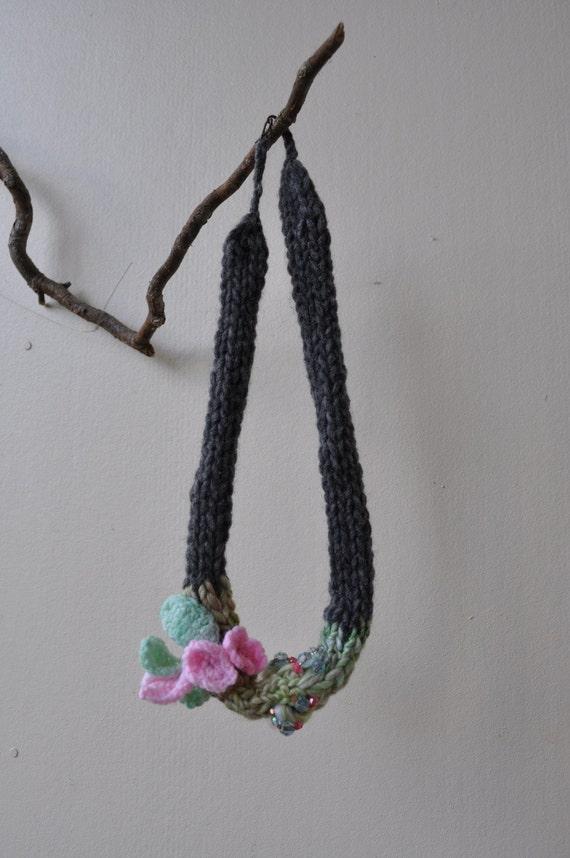 In Bloom, handspun knit necklace for Spring