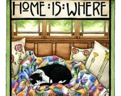 Tuxedo Cat art print, Arts and Crafts style, Home is Where My Cat Naps 8x10