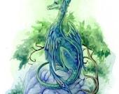 Dragon art print, Emerald Green, baby dragon, children's art, cute, fantasy, 5x7, limited edition