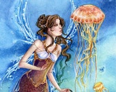 Mermaid art, jellyfish, fairy, underwater, limited edition art print