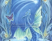 Dragon art, Art Nouveau, fantasy art print, 5x7, limited edition, luna moth - Wishing on a Star