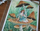 Original Painting - Among the Mushrooms Fairy with Butterflies art watercolor
