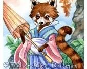 Chinese Red Panda, fantasy art, anthropomorphic, 5x7 art print