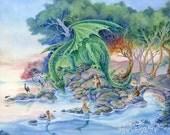 Dragon art, Mermaids, fox, fairytale forest, art print, fantasy 8x10. Of Air and Sea