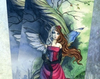 Postcard - Steampunk art, fairy art, gothic print, mechanical wings, fantasy print, card, Meredith Dillman