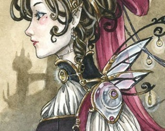 Steampunk Fairy Doll girl print 5x7 fantasy art