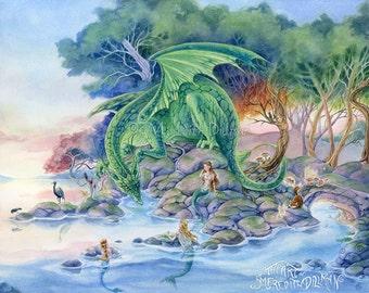 Dragon art print, Mermaids, fox, fairy tale forest, art print, fantasy, 8x10, Art for Kids