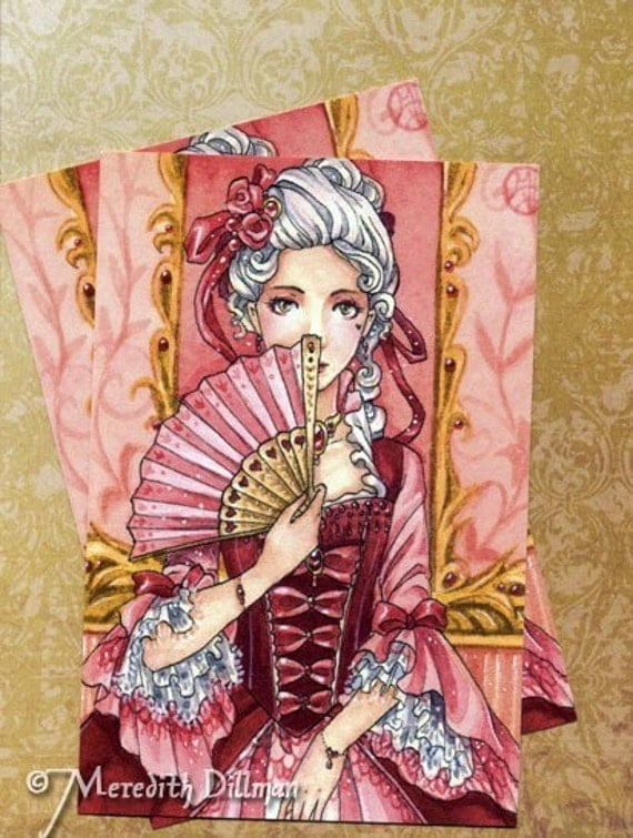 Art Postcard - Marie Antoinette, Rococo dress, Ruby hearts by Meredith Dillman