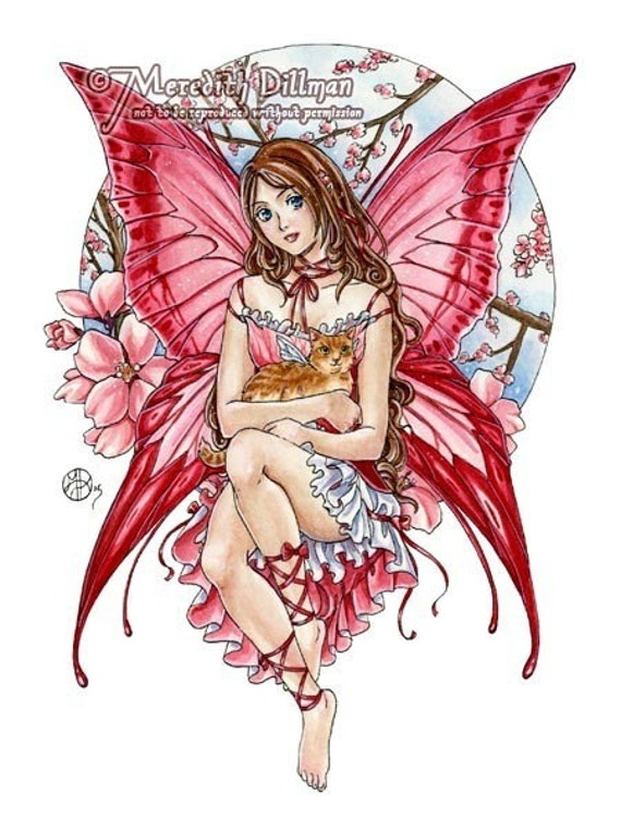 Anime Fairy fantasy art note card set blank by meredithdillman