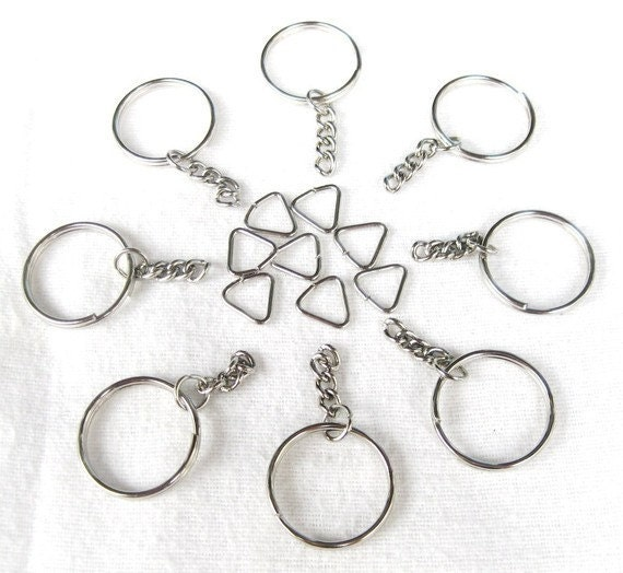 RAEWADOLLY 25 Round Keychain with Link Chain and Triangle JumpRing for attaching to your Items