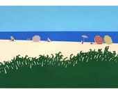 Vintage Cape Cod silkscreen print, Chatham Beach Massachusetts, in the Cape Cod Museum of Art, home decor wall art
