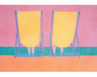 Hand printed vintage silkscreen print, beach chairs home decor wall art screen print