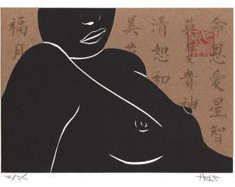 Asian influenced nude female figure woodblock and linoleum block print (linocut) with Chine-collé (collage)