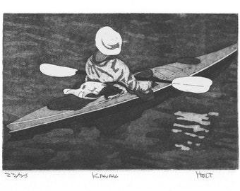 Original kayak etching print with aquatint, hand printed first edition intaglio print