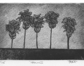 Palm tree etching print, hand printed silk etching, silk mezzotint, silk collograph