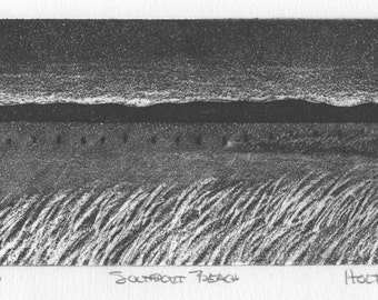Seascape print, etching with aquatint, Southport Beach Connecticut, in the Connecticut Historical Society's permanent prints collection