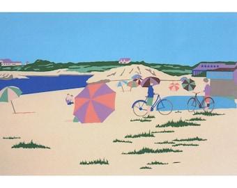 "Bailey's Beach, Rhode Island vintage seascape silkscreen print, 20""X30"""
