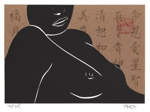 Erotic female figure linoleum block print, linocut and woodblock print with Chine-collé (collage), black tan and red female torso print