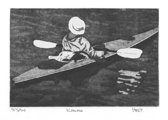Kayak etching print with aquatint, hand pulled intaglio print
