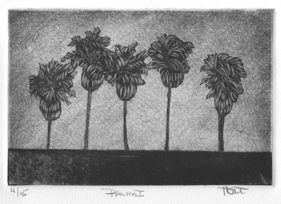 Original palm tree etching print with aquatint, hand pulled silk mezzotint silk collograph botanical wall art home decor