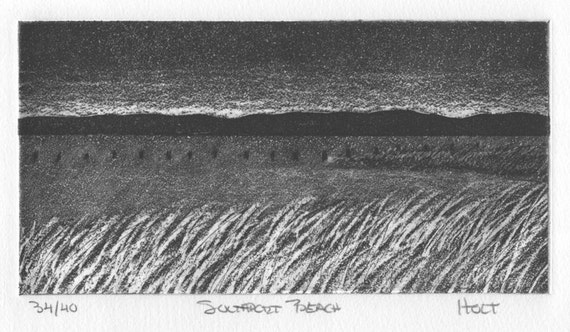 Seascape etching print with aquatint, Southport Beach Connecticut, in the Connecticut Historical Society's permanent prints collection