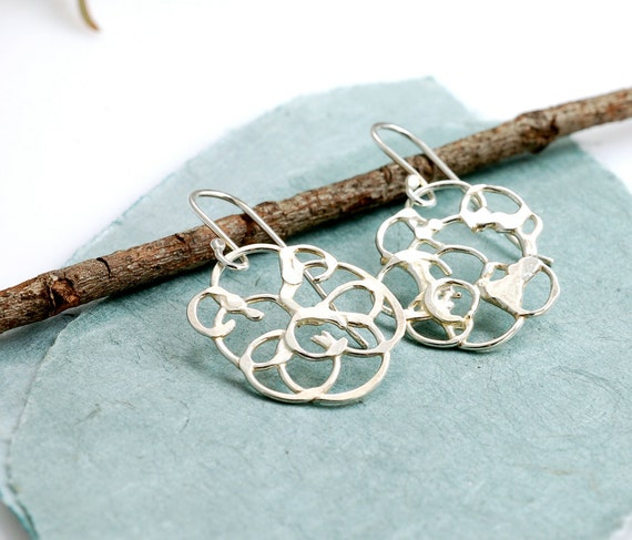 Reserved - Small Organic Vine Earring - argentium sterling silver