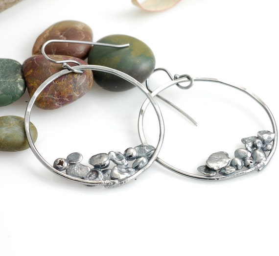 Extra Large Pebble Earrings - sterling silver with patina