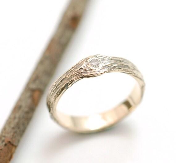 Gold Love Knot Tree Bark Ring