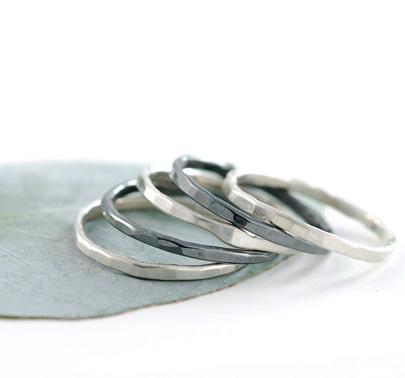 Organic Stacking Rings - Set of 5 - Made to Order in your size - Sterling silver skinny stacking rings