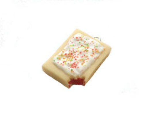 Nibbled Strawberry Poptart Necklace, Miniature Food Jewelry, Polymer Clay Food Necklace