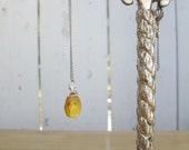 RESERVED Yellow Glass Teardrop Necklace