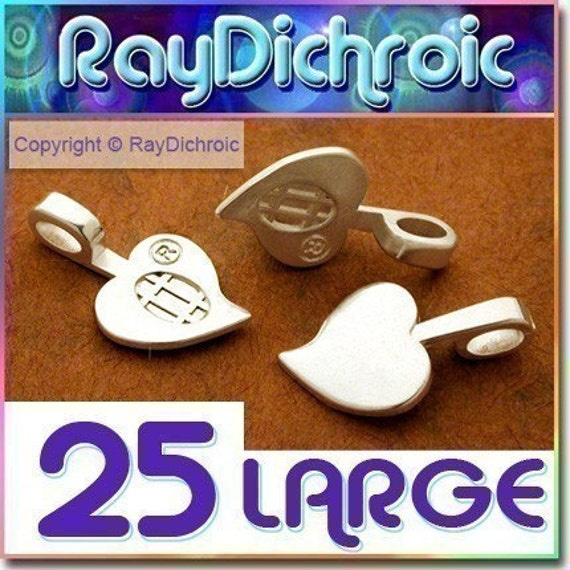 BIG SALE - 25 OFF ALL MED and LARGE HEART BAILS -- 25 Large Silver Plated HEART