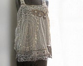 ON SALE - Vintage Lace, White, Gypsy Top, Gold, Beaded, Romantic, Bohemian Gypsy