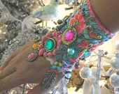 Monsoon, Gypsy Jangle, Bracelet, Bohemian Gypsy, Cuff, Vintage, Embroidery, Boho Jewelry