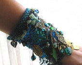 Teal Blue, Gypsy Jangle, Bracelet, Green, Silk, Beaded, Bohemian Gypsy, Boho Jewelry
