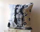 RESERVED Lace and Wool Cushion Cover, Pillow, Embroidery, Cream and Grey, Vintage Lace, Home Decor