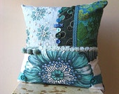RESRVED Antique Flower, Cushion Cover, Pillow, Teal, Blue, Green, Bohemian, Home Decor