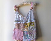 Antique Embroidery Top, Flowers, Upcycled, Pretty, Stripes, Grey, Pink, Bohemian Gypsy