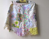 Cottage Garden Skirt, Rustic, Ditsy Floral, Vintage Lace, Embroidery, Linen, Pink, Yellow, Lavender, Bohemian Gypsy, Pretty Short Skirt