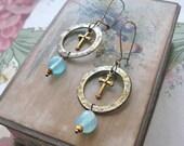 Vintage Cross Hoop earrings, Boho Jewelry, Blue, Brass, Gold,  Metal,  Dangle, Elegant, Bohemian