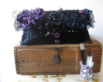 Mystique Clutch Clutch Bag, Purse, Vintage Lace, Black, Purple, Flower, Boho