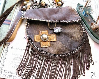 Leather Pouch, Little Bag, Necklace, Shoulder Bag, Recycled, Beaded, Boho