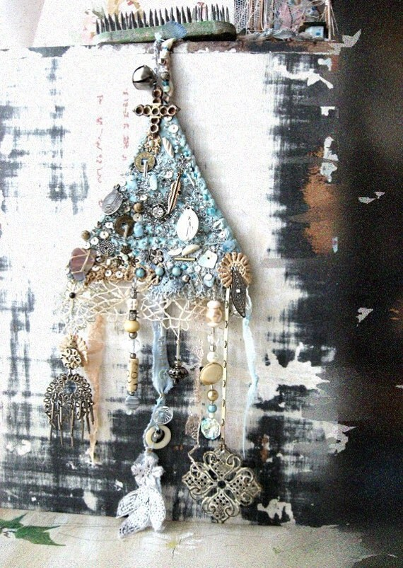 Awaken Amulet, Embroidery, Beaded, Blue, Silver, Cream, Lace, Hanging, Boho, Decor