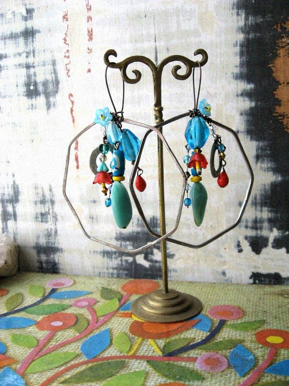 Party earrings - vintage and newer beads with crystal and flowers