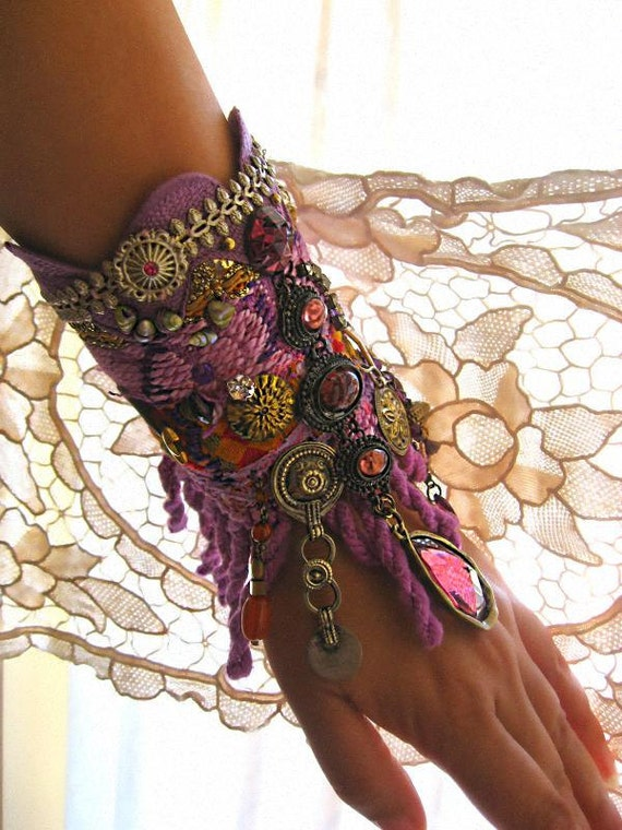 RESERVED for Ashley Gypsy, Bracelet, Vintage Textiles, Purple Glass, Vintage Cross, Jewellery, Tribal