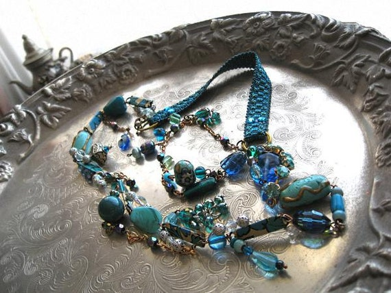 Deep into Blue necklace - handmade clay beads with vintage recycled elements