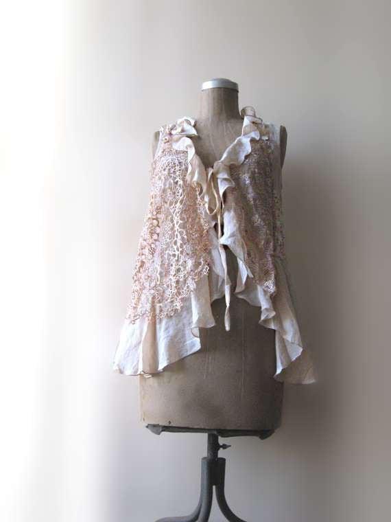 Summer Jacket, Long Waistcoat, Vest, Ruffles, Antique Tatted Lace, Cream, Floaty, Boho Clothing