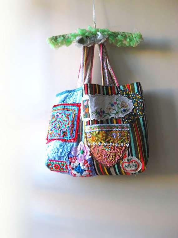 Large Shopping Bag, Vintage Embroidered, Patchwork, Applique, Kantha, Pockets, Boho Bag, Blue, Pink, Red
