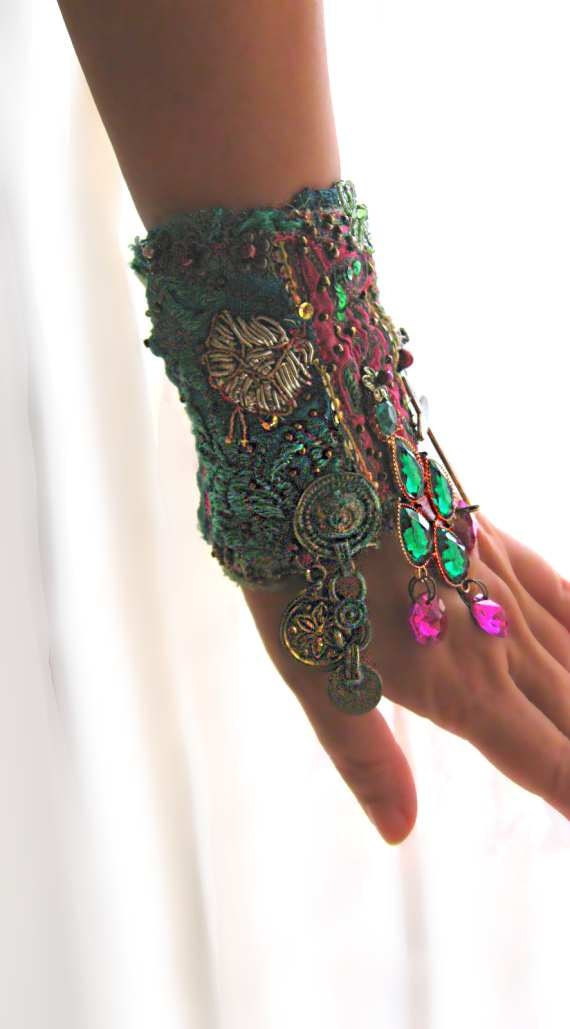 Tranquility Gypsy Jangle Bracelet, Vintage, Antique, Elements, Pink, Kuchi, Gypsy, Cuff