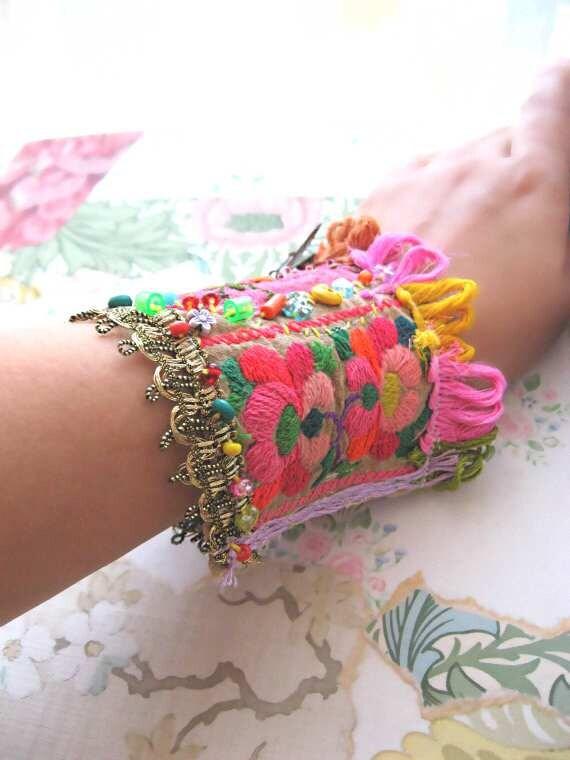 DOUBLE SALE - Butterfly Bracelet, Vintage Embroidery, Silk, Flowers, Rainbow, Pink, Bohemian Gypsy, Cuff, Fringe, Boho Jewelry